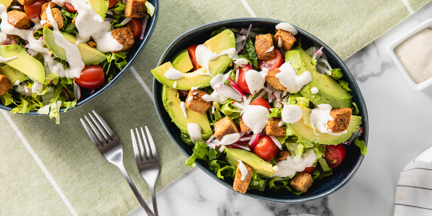 Chopped Salads with Avocado & Ranch Dressing