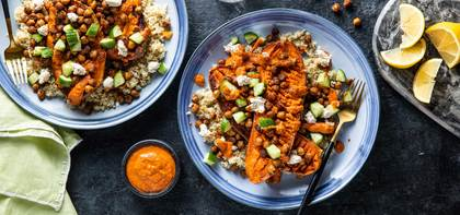 Mediterranean Stuffed Sweet Potatoes with Crispy Chickpeas & Scallion Cashew Cheese