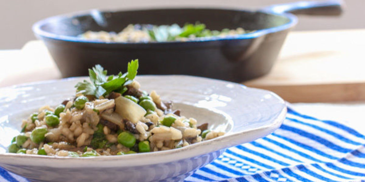 White Wine Risotto with Shiitake Mushrooms and Peas