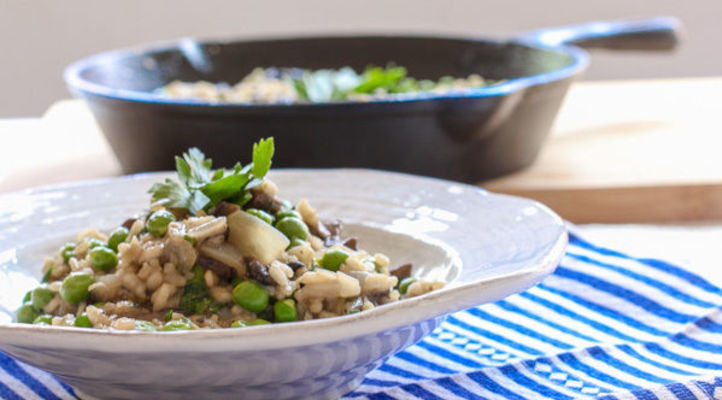 White Wine Risotto with Shiitake Mushrooms and Peas