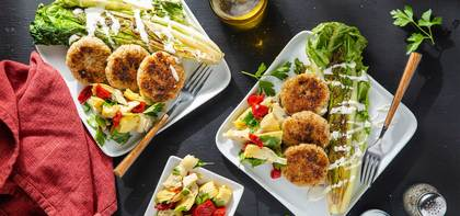 Crispy Quinoa Cakes with Red Pepper Artichoke Antipasto & Ranch Dressing