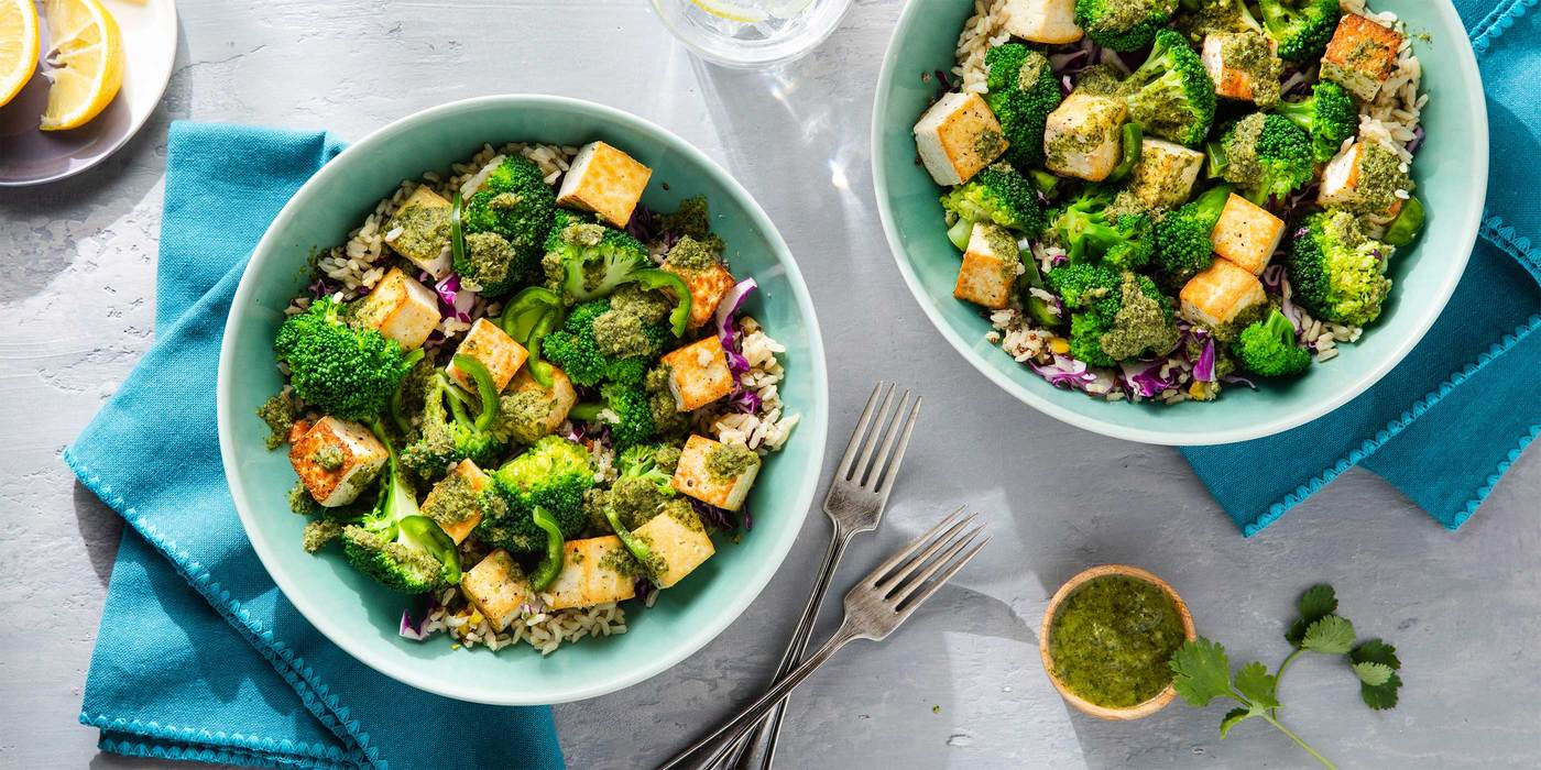 Coconut Tofu Detox Bowl with Broccoli & Cilantro Jalapeno Dressing