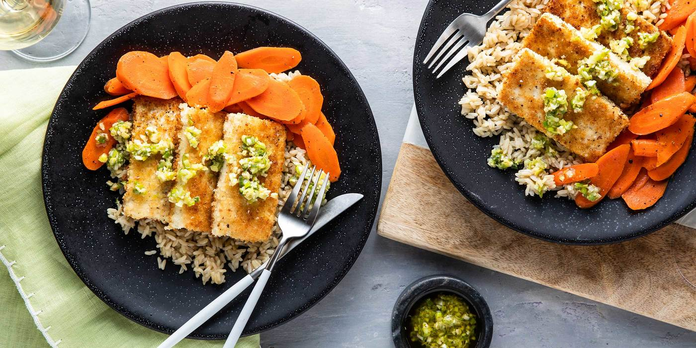 Crispy Tofu Steaks with Brown Rice & Green Ginger Relish