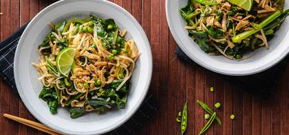 Early Spring Pad Thai with Swiss Chard & Snap Peas
