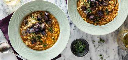 Quinoa Corn Chowder with Crispy Purple Potatoes & Fresh Dill