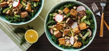 Za'atar Tofu with Lemony Cannellini Beans & Kale Radish Slaw