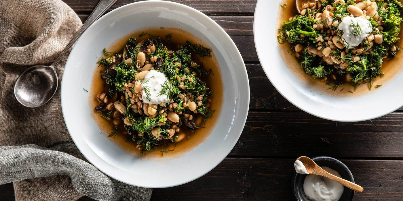Grain Bowl Soup with Coriander Roasted Mushrooms & Dill