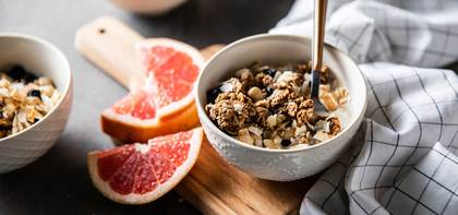Ancient Grain Granola Bowls with Blueberries & Grapefruit