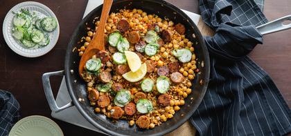 Mediterranean Skillet with Apple Sage Sausage & Tzatziki Cucumber Salad