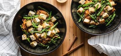 Gochujang Peanut Noodles with Crispy Tofu & Green Beans