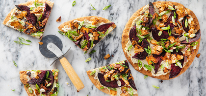 Beet and Coconut Bacon Flatbreads with Herb Cashew Cheese