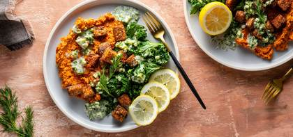 Baharat Spiced Tempeh with Carrot Puree & Tzatziki Sauce