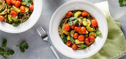 Cilantro Pepita Pesto Fettuccine with Roasted Zucchini & Cherry Tomatoes