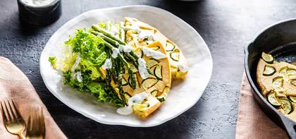 Tortilla Espanola with Asparagus & Herb Garlic Aioli