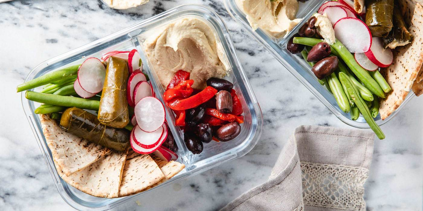 Hummus Bowls with Stuffed Grape Leaves & Whole Wheat Pita