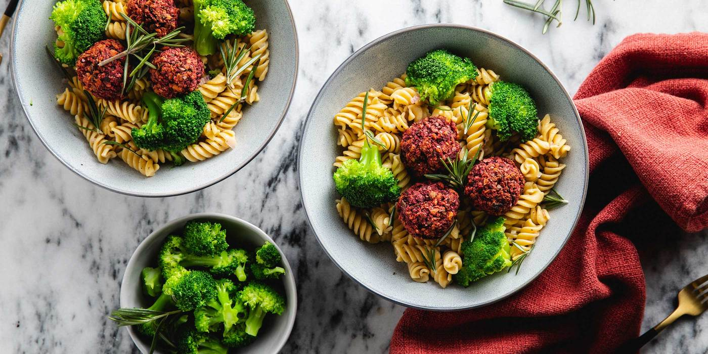 Pasta & Beetballs with Broccoli & Rosemary Lemon Butter