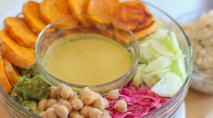 Kale Macro Bowl with Quick Pickled Cabbage and Turmeric-Tahini Dressing