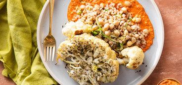 Spanish Cauliflower Steaks with Chickpea Farro Pilaf & Romesco Sauce