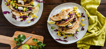 Crispy Black Bean Tacos with Mango Avocado Salsa