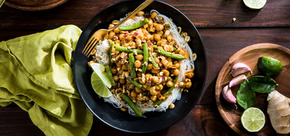 Red Curry Vermicelli with Japanese Yam & Lime Peanuts