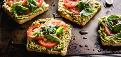 Avocado Toasts with Fresh Tomatoes & Balsamic Glaze
