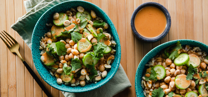 Thai Peanut Chickpea Bowls with Fresh Cilantro