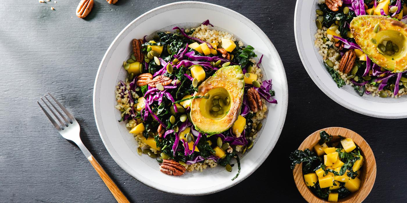 Tropical Grain Bowl with Pan-Seared Avocado & Mango Vinaigrette