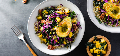 Tropical Grain Bowl with Pan-Seared Avocado & Mango Vinaigrette