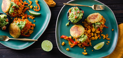 Plantain Arepas with Annatto Tofu & Guacamole