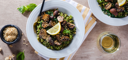 Herby Farro Risotto with Baby Spinach & Roasted Mushrooms