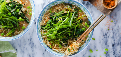 Spring Ramen with Sugar Snap Peas & Red Miso Coconut Broth