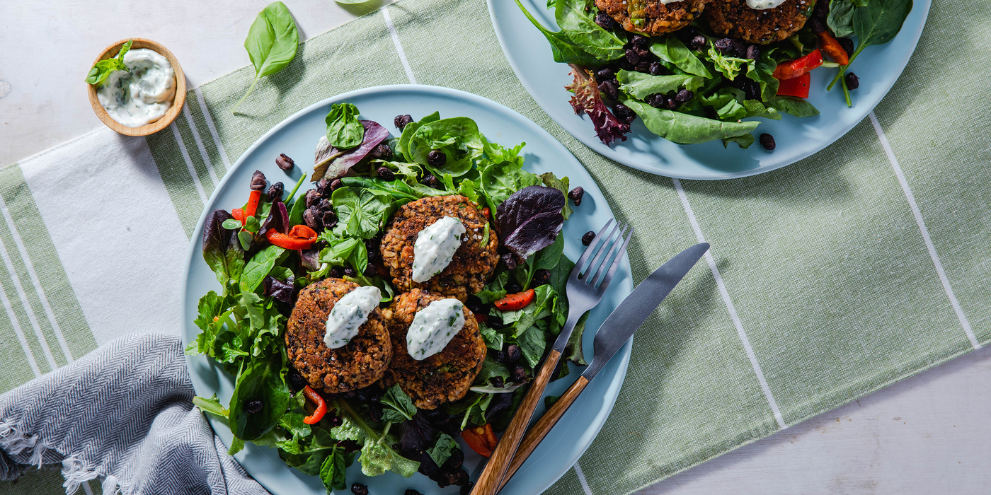 Black Bean Tempeh Patties with Basil Mayo & Green Salad