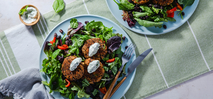 Black Bean Tempeh Patties with Basil Mayo & Green Salad