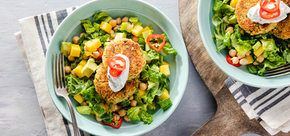 Avocado Chickpea Burgers with Cilantro Mayo & Mango Salad