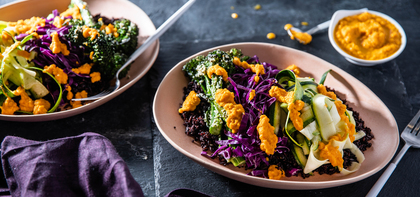 Midnight Macro Bowl with Broccolini & Carrot Ginger Dressing