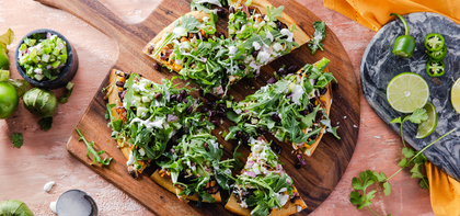 Mexican Socca Pizza with Tomatillo Salsa & Chipotle Corn
