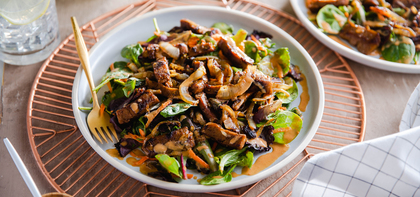 Cumin Stir-Fried Seitan with Arcadian Greens & Peanut Dressing