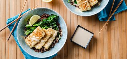 Tofu Katsu with Red Quinoa & Lemon Tahini Sauce