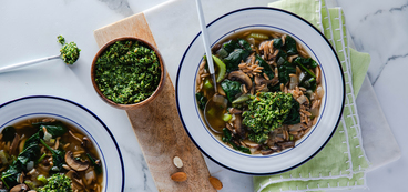 Super Green Soup with Kale Pesto & Whole Wheat Orzo