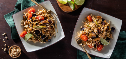 Charred Eggplant Pad Thai with Cherry Tomatoes & Tamarind Sauce