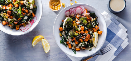 Cajun Roasted Broccoli Bowl with Kale & Lemon Tahini Dressing
