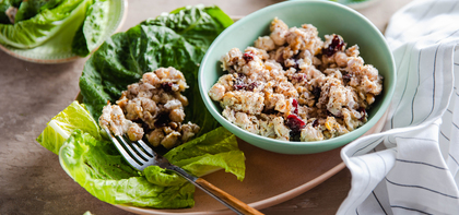 Chickpea Lettuce Cups with Dried Cranberries and Walnuts