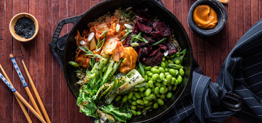 Korean BiBimBap with Gochujang Roasted Beets & Crispy Seeded Rice