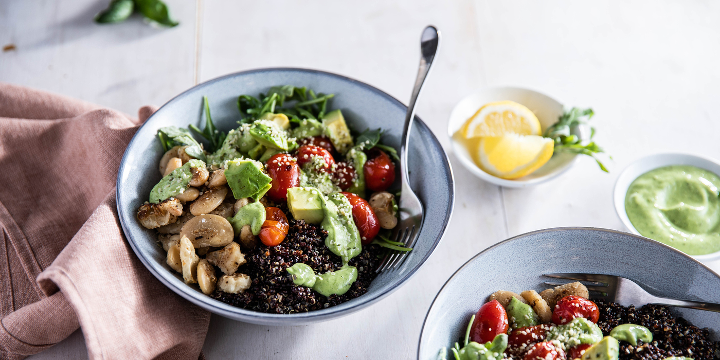 Green Goddess Bowl with Crispy Butter Beans & Black Quinoa