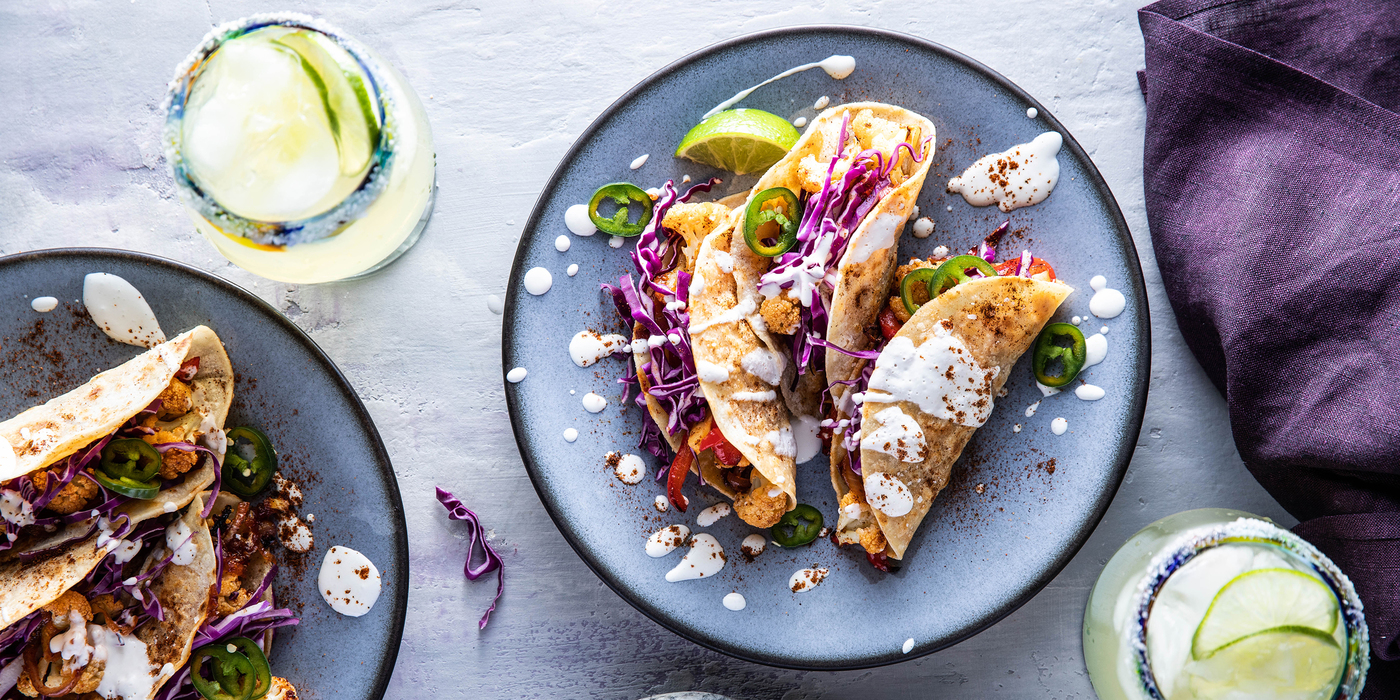 BBQ Cauliflower Tacos with Crispy Tortillas & Lime Crema