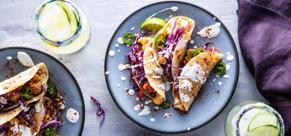 BBQ Cauliflower Tacos with Crispy Tortillas & Lime Crema
