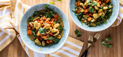 Crispy Thai Gnocchi with Yellow Curry & Fresh Cilantro