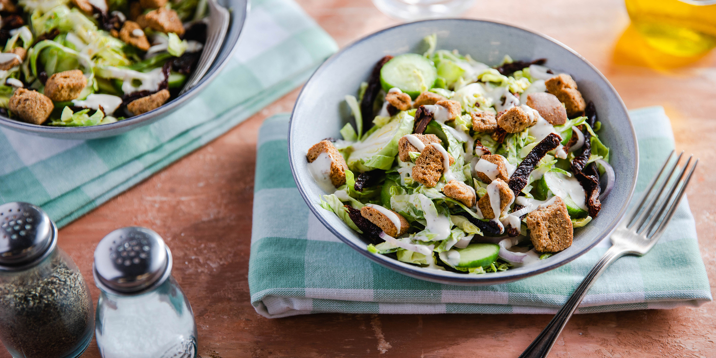 Caesar Salads with Sun-Dried Tomatoes & Multigrain Croutons