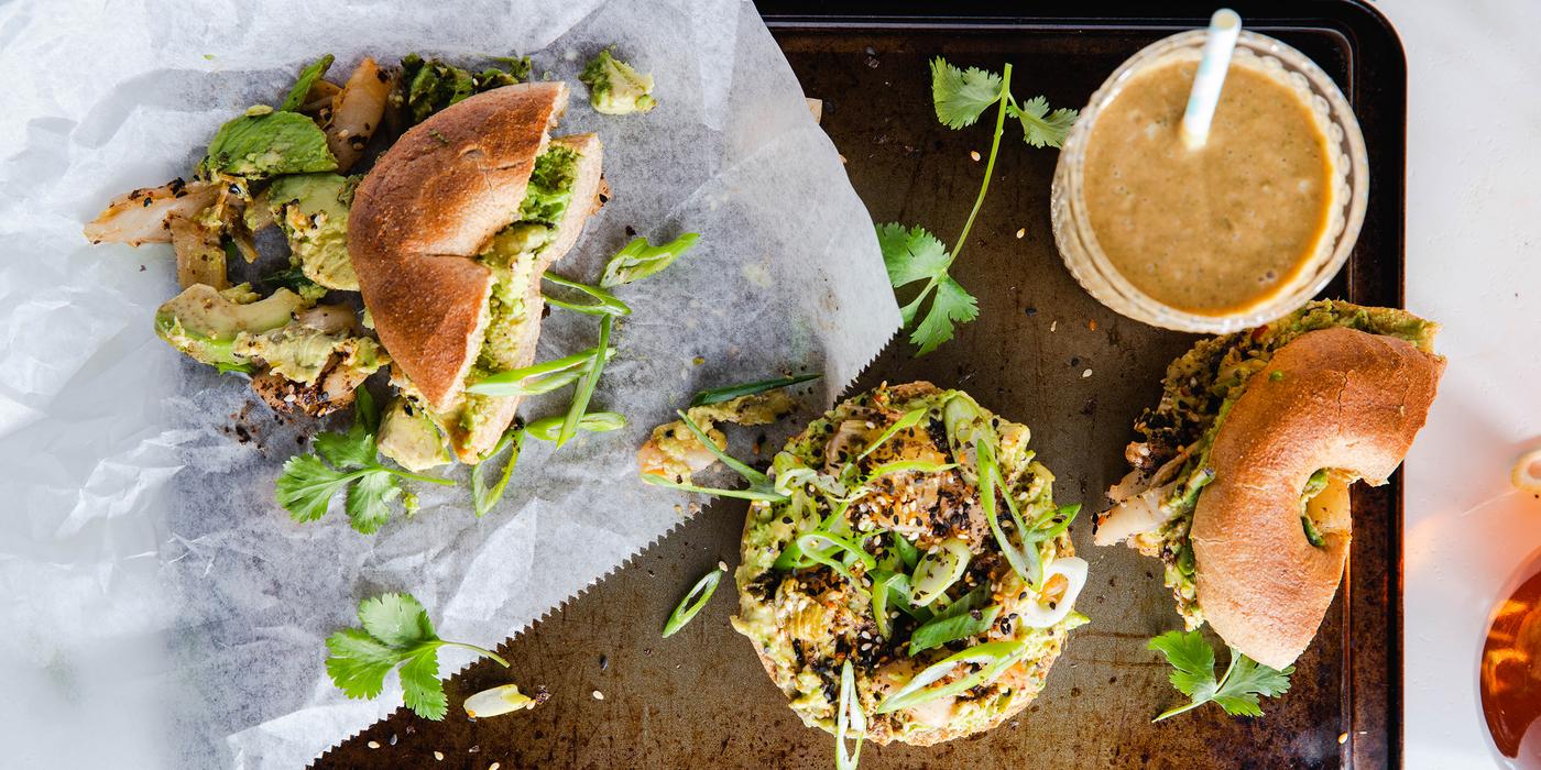 Avocado Sushi Bagels with Smoked Nori Spice & Kimchi