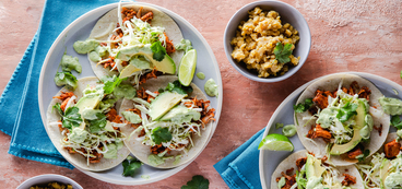Pulled Jackfruit Tacos with Curtido & Avocado Crema